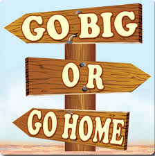 A desing with three wooden direction signs stick to a pole, the upper one points to the left and says 'go big', the sencond one points to the right and says 'or' and the third one points to the left and says 'go home'.