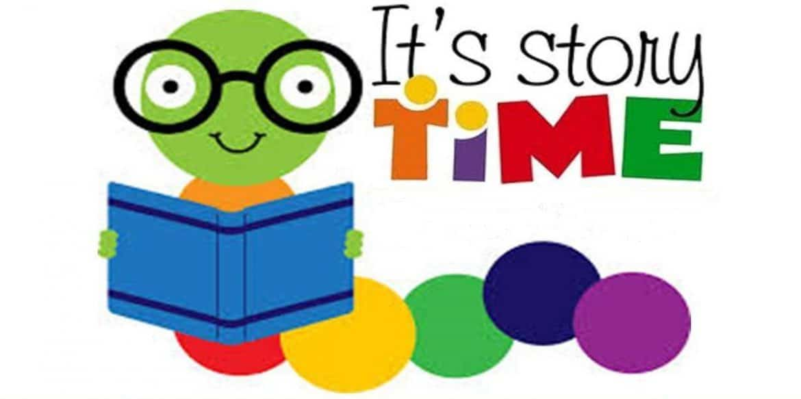 A colorful desing of a frog with glasses holding a book with a message at the right saying 'it's story time'